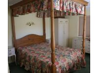 4-Poster Bed with Drapes and 2 Matching Chairs