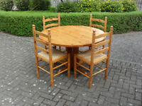 Solid Pine Round Drop Leaf Table & 4no Chairs