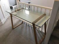John Lewis Glass Top Desk with Oak Lega
