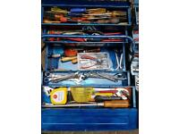 2x cantilever tool boxes full of tools.