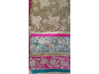 HEAVY EMBROIDERED LACE SUIT UNSTITCHED FABRIC INDIAN/PAKISTANI