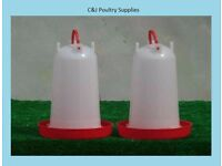 NEW POULTRY CHICKEN PIGEON DRINKER 3 LITRE WITH CARRYING HANDLE X 2
