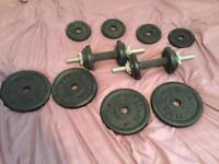 32 kg of weights dumbbell bars and bench