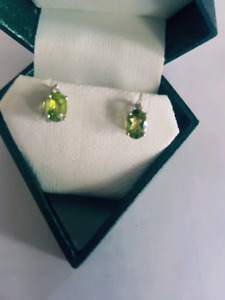 Silver gemstone diamond earrings