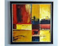 """NEW YORK 'TIMES SQUARE' ABSTRACT OIL PAINTING - FRAMED - 34"""" x 34"""" (No: 2 of 2)"""