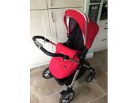 Silver Cross Pioneer Pushchair & Carrycot Chilli Red