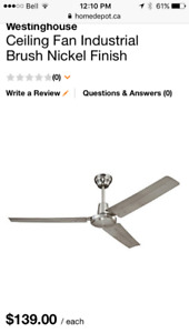 """2 BRAND NEW 56"""" NICKEL CEILING FANS FROM HOME DEPOT"""