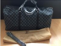 Louis Vuitton Duffle Bag with Authenticity Keepall Gym Travel lv leather top quality gucci versace