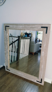 Large reclaimed wood barn board mirror