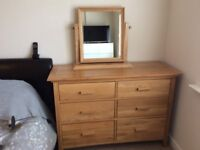 Chest of drawers and dressing table mirror
