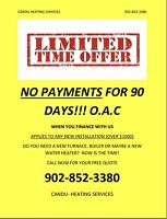 Furnace and water heater installations!  LIMITED TIME OFFER