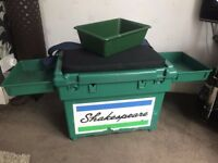 Shakespeare Match Fishing Seat Box with Padded Cushion And Side Trays