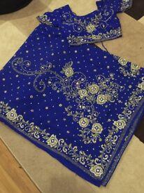 Royal Blue stone work saree