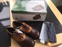 Men's Size 8 Leather Golf Shoes and glove