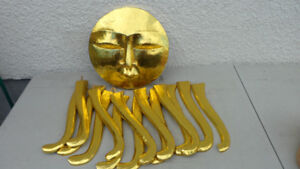 Large Gold Sun Ornament Carved Wood $20
