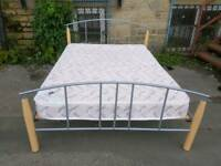 Bed - Quality Light Wood and Grey Metal Bed Double Bed Frame + Mattress