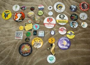 Pin Back Buttons - music, comics, sports and movies