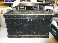 VINTAGE WOODEN TRUNK / BOX WITH METAL HANDLES EACH END IN GOOD CONDITION HAS VARIOUS USES £58