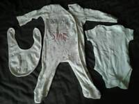 Sleep Tight white 3-6 baby sleep suit set