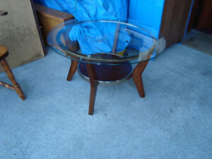 Set of three glass top tables