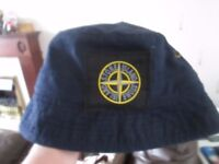 mens stone island bucket hat cap blue