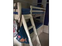 White 3ft childrens bunk bed with mattresses and built in under bed storage