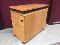 Oak 3 drawer under desk filing cabinet