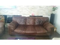 Sofa with 2 armchairs brown real leather