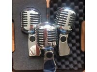 Vintage/retro style microphones X 3 silver/chrome