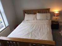 Solid wood frame double bed plus 2 set of drawers