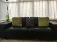 Black Leather Reid sofa and chair