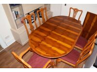 Teak Wooden Dinning Table with Six Chairs