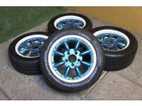 "Genuine Staggered Watanabe RS8 15"" Alloy wheels 5x114.3 Toyota MR2 Civic EK9 JDM Alloys"