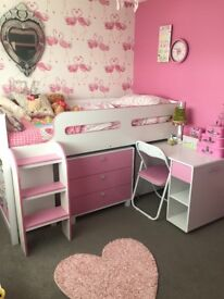 Cabin bed with desk, bookcase, chest of drawers and chair