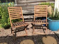 2 foldable wooden patio chairs (£13/ea or £20/pair)