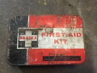 OLD empty first aid tin great for collectors etc. Money 💰 for local cancer charity funds thanks 🙏.