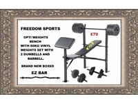 Opti Bench with curlpad plus 60kg vinyl Weights 2 DUMBELLS 1 BARBELL EZ BAR BRAND NEW BOXED