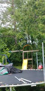 Free trampoline, metal swing set , basketball net wooden swing