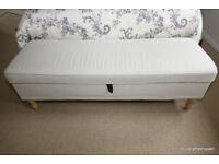 IKEA Stoksund Cream Ottoman / Storage Bench / Window Seat with Removable Cover