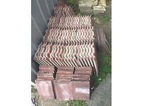 41 Whole Large Interlocking Roof Tiles (concrete, dark red)