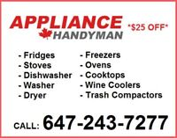 ALL APPLIANCE REPAIR - DRYERS, WASHERS, FRIDGES, OVENS AND MORE