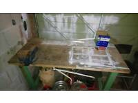 Very Heavy Solid Steel And Wooden Work Bench With No'4 Record Bench Vise