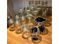 Kitchen glass storage jars (17 in total) USED