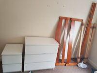 Bed, dressers, mattress,