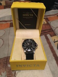 Invicta Pro Diver stainless steel watch with 2 leather band
