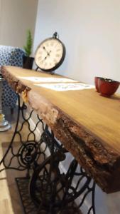 Live edge table on Singer cast iron base