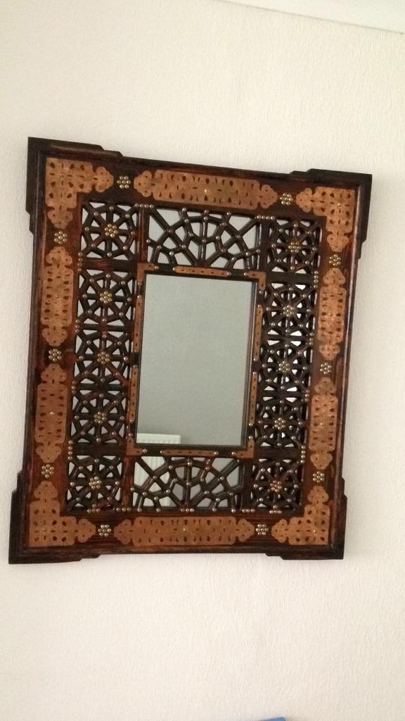 Large Ornate Copper Wall Mirror Eastern Antique