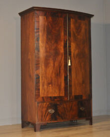 Large Antique Victorian Mahogany Double Bow Front Door Wardrobe, Base Drawer