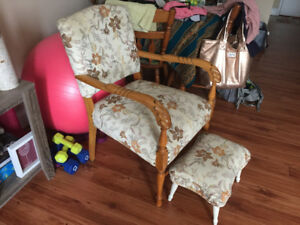 Solid wood chair and matching foot stool