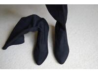 Ladies boots - Black kitten heel knee high boots - size 6